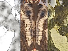 Delirium (Hunky Skunky) Tags: skunk muscle beef veins beefy art illusion ecstasy hairy body hair furry hunk secondlife