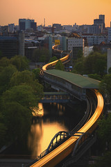 Snaking Train (Light Levels Photoworks) Tags: architecture architektur allemagne adventure berlin bridge brücke berliner city cityscape d750 deutschland dämmerung dusk europe europa earth bvg germany hdr teleobjektiv kanal landscape landschaft lzb moment nikon nikkor haidafilter system outdoor perspectives paysage photography perspektive urban river reflexion stadt street streets sunset skyline skyscraper sonnenuntergang spiegelung time travel landwehrkanal twillight technique technik ubahn view voyage viewpoints ville vero world train