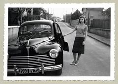 "Peugeot 203 (Vintage Cars & People) Tags: vintage classic black white ""blackwhite"" sw photo foto photography automobile car cars motor peugeot203 peugeot skirt sweater watch wristwatch pumps heels necklace suburb suburbia"
