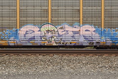 GETS (TheGraffitiHunters) Tags: graffiti graff spray paint street art colorful freight train tracks benching benched auto racks autoracks gets character easter