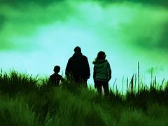 The Greenland People (Steve Taylor (Photography)) Tags: family digitalart green monocolor monocolour strange people boy lad child kid girl man newzealand nz southisland canterbury christchurch newbrighton dune grass mist cloud sky