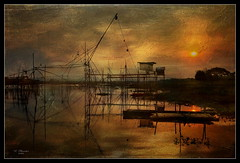 Sunset At The Huai Luang Reservoir (ulli_p) Tags: asia art artofimages amazingcolours aworkofart awardtree colours canon750d exoticimage flickraward isan landscape lake lakescape nature ruralthailand reflection southeastasia sunsets thailand texture textured texturedphoto