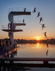 Youngsters having fun, Norway (Vest der ute) Tags: xt2 norway rogaland haugesund divingtower people diver water waterscape lake spring sunset sky fav25 fav200