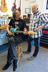 Leon Hendrix in the shop picking up his Strat on his way to England to start his summer tours in Europe (David Neely) Tags: guitars custom leon hendrix