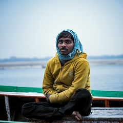 Boatman (Vilvesh) Tags: varanasi cwc chennaiweekendclickers travelwalk boatman pigeons bw monochrome nikond750 nikon24120mm nikon50mm portrait ganga