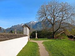 A day in spring - (rotraud_71) Tags: landscape badreichenhall nonn cemeterywall spring oldwalnut alternussbaum way sky sculpture mountains snow