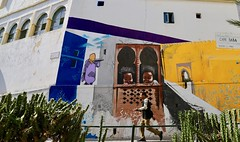 Looking at You (Alex L'aventurier,) Tags: maroc morocco tanger tangier wall mur art murale medina médina fenêtres windows urban urbain city ville cactus man homme person candid street rue details