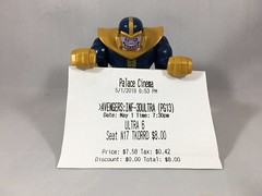 2018-121 - Thanos At The Movies (Steve Schar) Tags: 2018 wisconsin sunprairie iphone iphone6s project365 lego minifigure thanos marvel infinitywar marcus theater theatre film movie cinema ticket