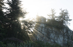A sparkle for your weekend (Ian@NZFlickr) Tags: long beach wave spray sun rays trees shadows rocks dunedin otago nz