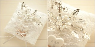 Rhinestone,crystal & flower bridal Ring Pillow,Ring Bearer Pillow,flower ring pillow,ring bearer pillow,wedding pillow,Wedding Ring Holder and handmade rings cushion
