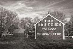 Yesterdays.... (Joe Hengel) Tags: yesterdays pennsylvania pa barn red tobacco chewmailpouchtobacco farm brickervillepa brickerville blackandwhite bw monochrome texture