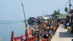 Ao Salat village (serge der) Tags: ciel sky boat fisher man village thailand kohkood koh kut sea blue orange sunny