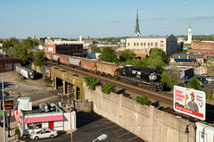 NS 3342 - Dayton, OH (Wheelnrail) Tags: ns norfolk southern emd sd402 locomotive l12 railroad rail road rails local dayton district downtown church elevated tracks 3342 summer