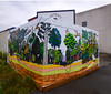 Putting Street Art Out To Contract (Steve Taylor (Photography)) Tags: screen contract corner bird art graphic mural sign fence colourful plastic newzealand nz southisland canterbury christchurch cbd city bush trees forest