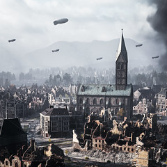 """""""Ruined City 2"""" (Omegapepper) Tags: wallpaper screenarchery screenshot gaming videogame digital photography photomode photostitch nvidia camera tools landscape wot world tanks war vintage sky smoke church clouds realistic 4k"""