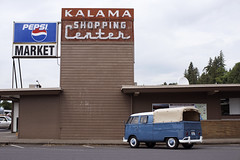 Kalama Shopping Center (Curtis Gregory Perry) Tags: kalama washington volkswagen vw bus type 2 van old classic car vehicle blue white neon sign kalamazoo shopping center grocery store brick building architecture plastic pepsi market nikon d810 northwest state truck pickup chicken tax canopy vintage retro german germanic