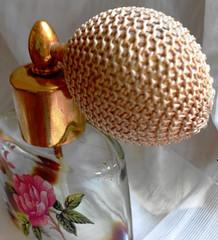 Just a Puff (wyld lil) Tags: macromondays perfume bottle atomizer glass metallic vintage