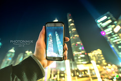 Mobile Photography in Pudong (Andy Brandl (PhotonMix)) Tags: china mobilephone night takingpictures pudong skyscrapers