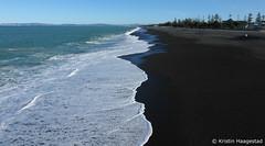 The long, black beach. Napier, NZ (K. Haagestad) Tags: beach marineparade napier nz waves froth pacific ocean trees hawkesbay
