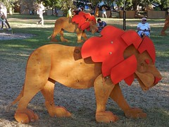 Wooden Lions (mikecogh) Tags: hackney womadelaide 2018 lions wooden mascot installation