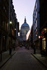 Old and New (gooey_lewy) Tags: old new st pauls cathedral city london twilight cupola street alone shops resturants