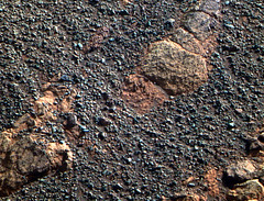 Embedded Rock in the Ground (sjrankin) Tags: 21may2018 edited nasa mars opportunity endeavourcrater rgb colorized bands257 pebbles rocks sand
