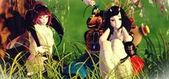 Monster Friends (Zumipop) Tags: secondlifephotography cuteanimegirls oni mantis snakemonster peacefulscenery