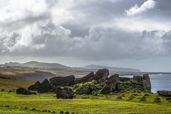 Shore in Ahu Vinapu / Берег в Аху Винапу (Vladimir Zhdanov) Tags: travel chile polynesia rapanui easterisland ocean landscape sky cloud water wave moai sculpture ancient ahuvinapu poike grass rock