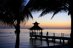 Good Night Jamaica! (Anthony Mark Images) Tags: sunset palmtrees pier gazebo people reflections silhouettes waves peaceful night ropes posts ripples lovely beautiful pretty water ocean caribbeansea jamaica westindies caribbean
