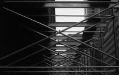 M6SummaritTriX_NYCScaffolding (Johnny Martyr) Tags: scaffolding scaffold bars construction lines repetition composition math triangles rectangles repeat redundant building construct build poles metal x xxx leica m6 hc110 kodak trix film 35mm rangefinder bw newyorkcity cold steal