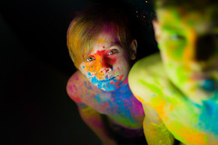 Colorful (NEVEZ P★) Tags: cool 50mm canon dof model nevezphotography berlin germany colorful portrait fineart porträt art childhood holipowder holi powder coloured extreme eyes green blue orange red purple pink bokeh light contrast colored reflection