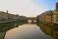 Ponte Vecchio over the Arno River Just After Dawn (Herculeus.) Tags: 2018 april firenze italy18 tuscany river arnoriver reflection sunrise day landscape landscapes outside outdoor outdoors sun bridge pontevecchio medieval nature buildings florence water sky building city architecture 5photosaday