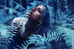 Earthen (Kindra Nikole) Tags: earth earthy day kindra nikole fantasy surreal ethereal white hair silver ferns fern forest pacific northwest blue cyan teal