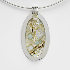 Large Oval Paper, Resin, and Recycled Silver Necklace by Bashful Pineapple (all things paper) Tags: bashfulpineapple paperjewelry resinjewelry silverjewelry papernecklace paperpendant chiyogami japanesepaper