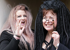 Portrait taken during the April 2018 Whitby Gothic Weekend (Gordon.A) Tags: yorkshire whitby whitbygoths whitbygothweekend wgw wgw2018 goth gothic creative cosplay culture pretty lady woman people peoplewatching smile smiling glasses lorgnette festival event streetevent eventphotography amateur streetphotography streetportrait colourportrait colourstreetportrait portrait naturallight naturallightportrait day daylight digital canon eos canoneos750d sigma sigma50100mmf18dc