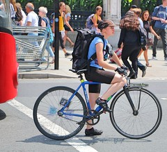 Pre Cursa (Waterford_Man) Tags: girl shorts cycle cyclist bike wheels london path street people candid