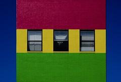 Coney Island Avenue (AMRosario) Tags: abstract brooklyn flatbush blue red green building minimalist kensington lightroom rainbow ditmaspark rokinon brick newyorkcity architecture xt20 yellow fujifilm sky