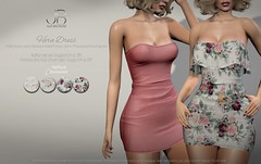 NEW! Hera Dress - at the Mainstore! (Just BECAUSE_SL) Tags: dress mainstore secondlife sl miniskirt retro cute flirty tube top short ruffle roses print flowers boobs cleavage sexy booty belleza maitreya slink original mesh just because jb