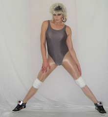 That time I tried to keep up with some fitness chicks (queen.catch) Tags: catchqueen youtube workout video aerobics pantyhose shiny legs sneakers kneepads drag crossdressing thong leotard strikeapose femboy sissy