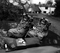 old boots, new socks (amazingstoker) Tags: new basingstoke hampshire socks boxing walking boots day old canal dogmersfield still life berghaus barley mow bridge car park
