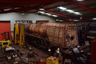 Locomotive 46233 Duchess of Sutherland, undergoing maintenance at the West Shed, Midland Railway Centre. 07 05 2018