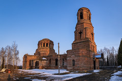 Old Church. (Oleg.A) Tags: ruined spring penzaregion russia church old brick outdoor rural materials orange countryside blue abandoned building cathedral dome exterior orthodox village architecture cross sunset ustkaremsha evening sky catedral outdoors penzenskayaoblast ru