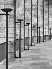 Olympiastadion (RobertLx) Tags: berlin germany europe olympics stadium sport venue repetition geometric texture monochrome bw architecture building city lamp column contrast olympia