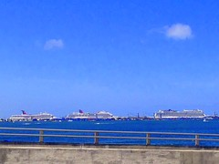 A Busy day in the Port of Miami (Yalila Guiselle) Tags: miami port blue vessels