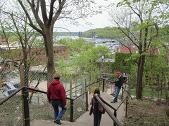 Walking down Main Street stairs, view to St. Croix River, Stillwater, Minnesota (Paul McClure DC) Tags: stillwater washingtoncounty minnesota may2018 historic scenery architecture river stcroixriver houlton wisconsin people