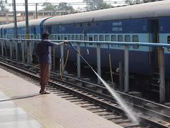 Tirupati - Cleaning the tracks (sharko334) Tags: travel voyage reise street asien asia india indien tirupati people railway station olympus em1