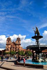 Cuzco (makingacross) Tags: cuzco cusco peru inca empire qusqu plaza de armas iglesia la compañía jesús iglesiadelacompañíadejesús clouds statue waterfall