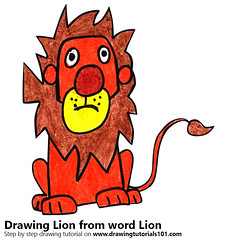 Lion from word Lion (drawingtutorials101.com) Tags: lion from word with words animals animal letters draw drawing drawings color colors coloring how sketch colo pencil howto speed