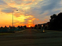 Urban Sunrise (TERRY KEARNEY) Tags: urbansunrise urban sunrise buildings buildingsarchitecture architecture town ellesmereportcheshire sun streets roads trees lamppost skyline sky dusk people canoneos1dmarkiv cheshire daylight day explore europe england flickr kearney skies landscape nature oneterry outdoor sunshine terrykearney 2018 sunset road intersection grass city cityscape