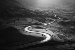 The Road To Edale II (laura.hacking) Tags: atmosphere windingroad peakdistrict valley sunset monochrome blackandwhite shadows intimatelandscape road edale mamtor landscape appicoftheweek
